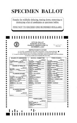 Specimen Ballot for Franklin (MA) Election Nov 2, 2021