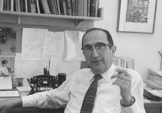 Salvardor Luria, pictured at his desk at the Massachusetts Institute of Technology at around the time of his Nobel Prize
