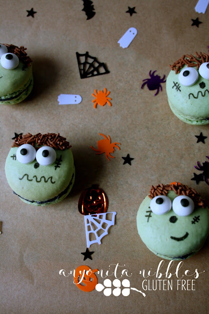 Gluten free Frankenstein macarons for Halloween | Anyonita Nibbles