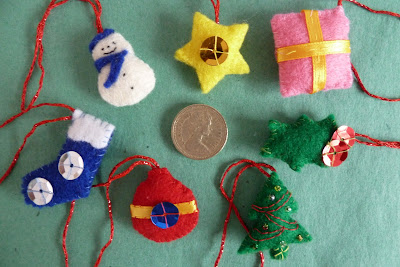 Tiny felt Christmas decorations