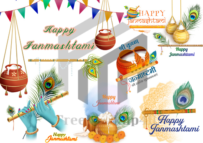 Colorful Happy Janmashtami Festival PNG and PSD Bundle Pack