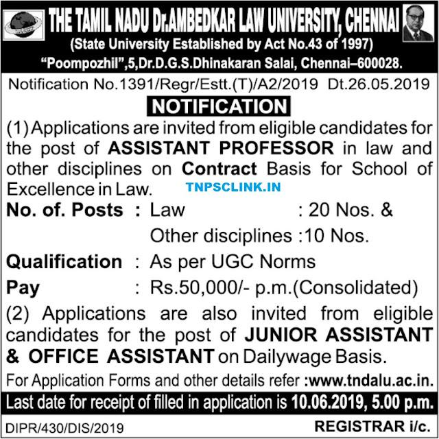 TNDALU Assistant Professor, Junior Assistant and Office Assistant Posts Vacancy Notification 2019