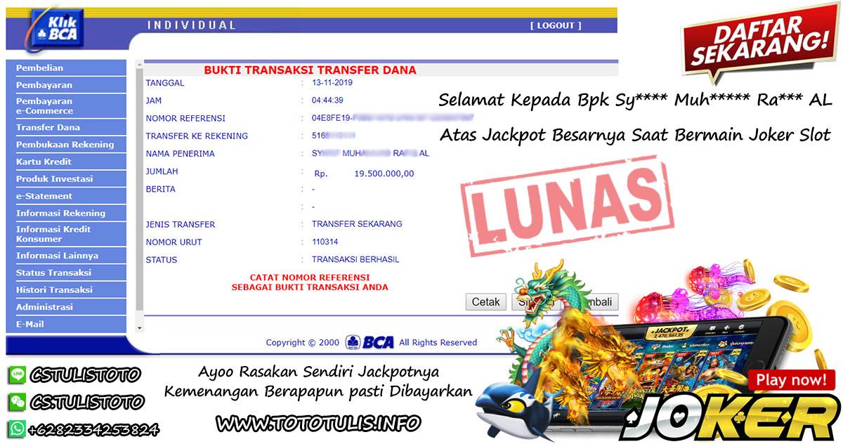 Jackpot Joker Slot Member Tulistoto Dibayarkan