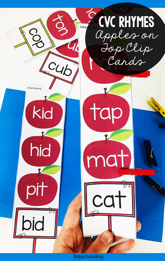 FREE Apple themed CVC rhyming words activity with clothes pins/clips, perfect for kindergarten kids to go along with the book Ten Apples Up on Top.