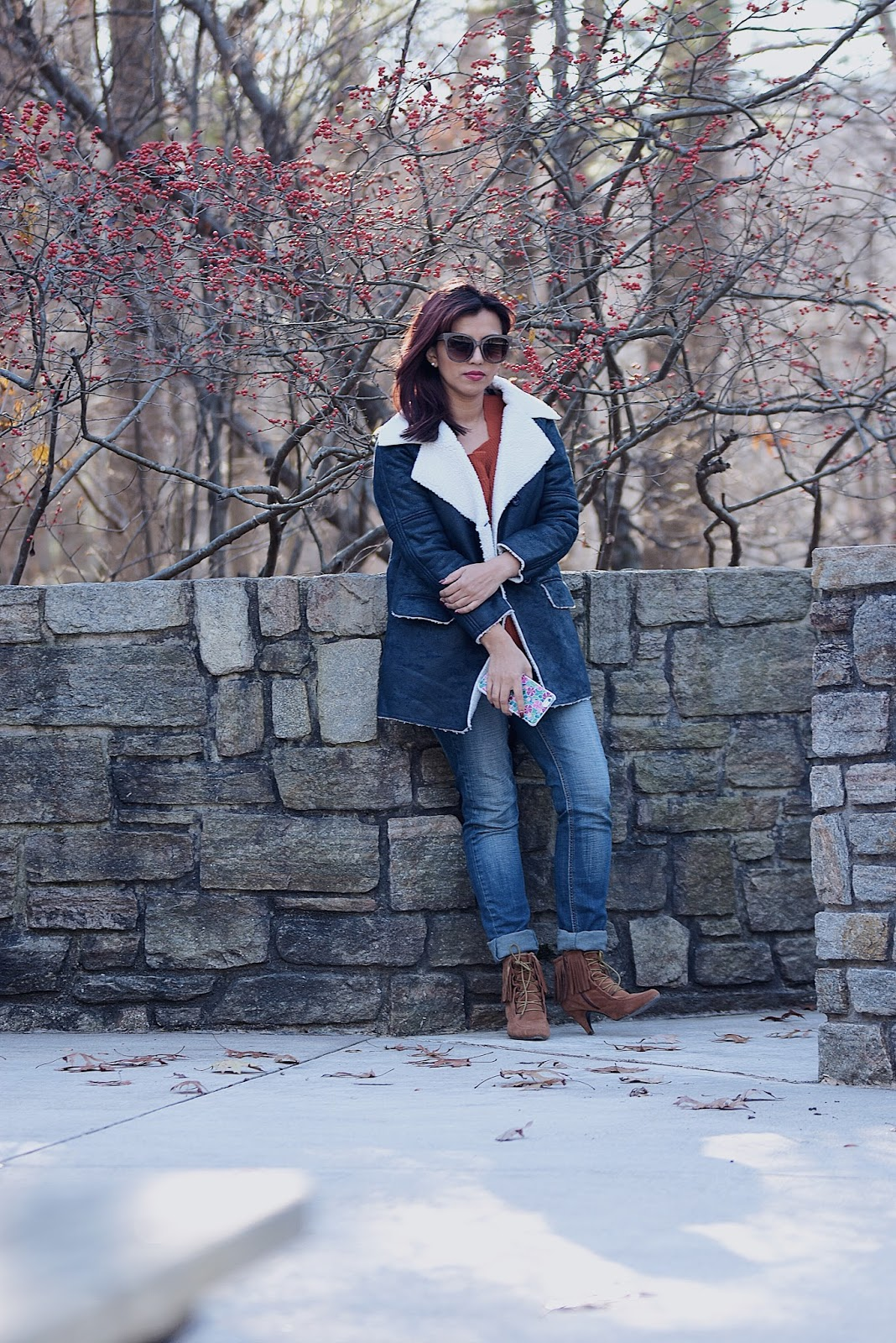 December Here We Go by Mari Estilo  Traveling to Greenbier State Park, Maryland ft. JollyChic.com Wearing: Coat: Jolly Chic Jeans: GAP Sweater: Choies Boots: DSW