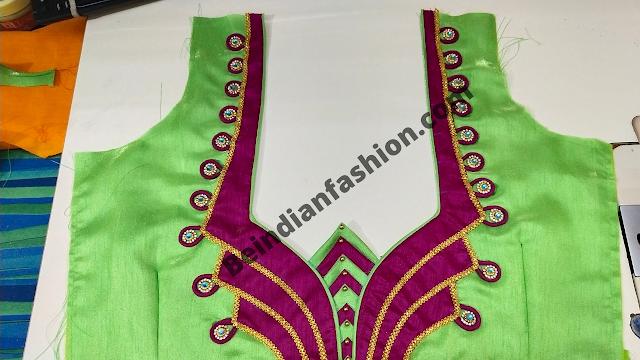 Beautiful patch work blouse design / ब्लाउज के गले की डिजाइन