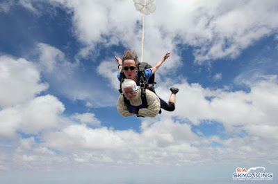 Old Woman Becomes Oldest Skydiver, Flies Down From The Sky To Celebrate 102 Years Birthday