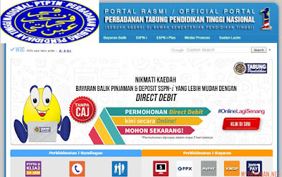 Permohonan Bayaran Balik PTPTN Melalui Direct Debit Online