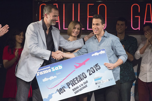 "King Felipe VI of Spain and Queen Letizia of Spain attended the Final of the 2014-2015 edition of the international competition of scientific monologues ""FameLab"" held at the Galileo Galilei Hall on May"
