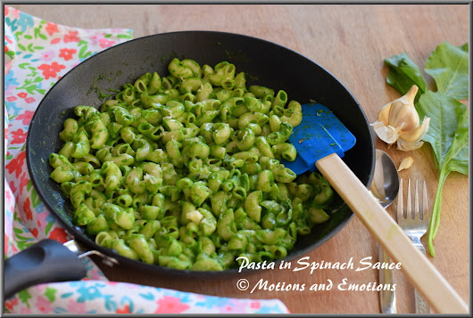 Pasta in Spinach Sauce / Macaroni in Spinach Sauce