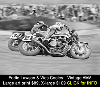 Eddie Lawson, Wes Cooley AMA Superbike scene, large photo print for sale