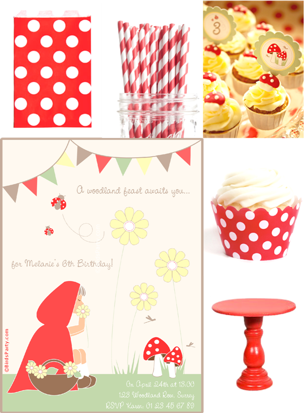 Red & White Little Red Riding Hood Birthday Party Ideas - BirdsParty.com