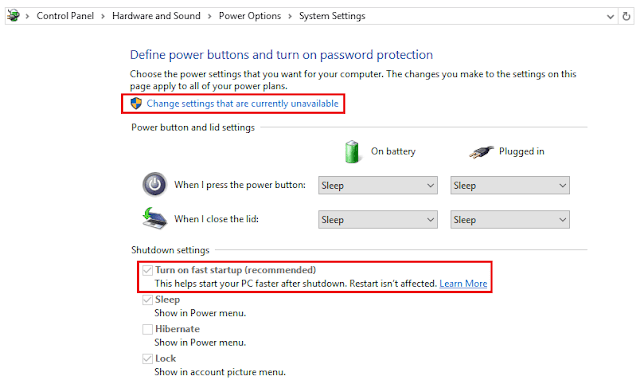 Mengaktifkan Fast Startup Windows 10