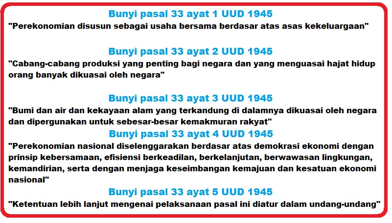 Bunyi Pasal 33 Ayat 1, 2, 3, 4, dan 5 UUD 1945 Lengkap