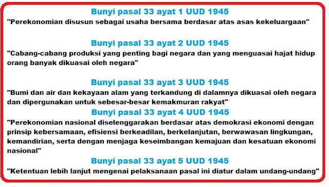 Bunyi Pasal 33 Ayat 1, 2, 3, 4, dan 5 UUD 1945 Lengkap Penjelasannya