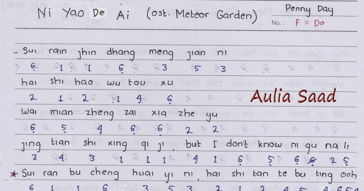 Not Angka Penny Day Ni Yao De Ai Ost Meteor Garden Not Angka Lagu Ost K Drama