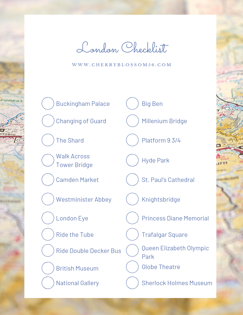 London Checklist