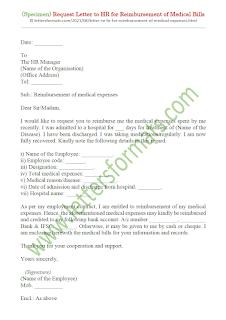 letter to hr for reimbursement of medical expenses