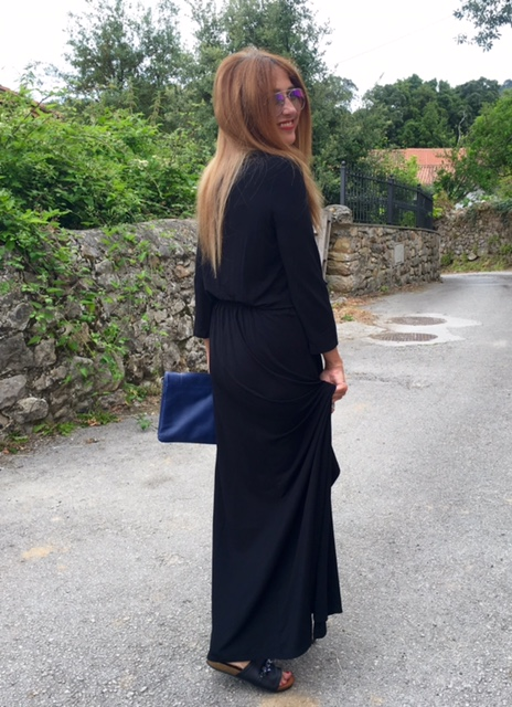 Justfab, look of the day, dress, style, fashion blogger, bag, sandalias, vestido negro largo, bolso de mano, lifestyle