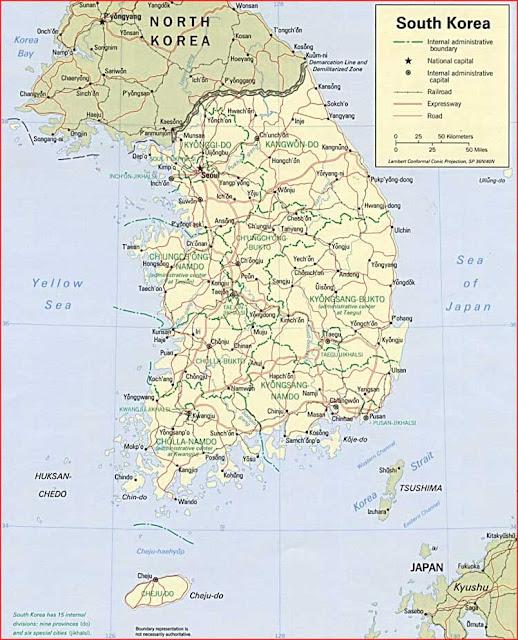 Gambar Peta politik Korea Selatan