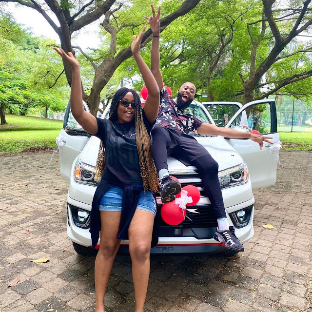 BBNaija star, Tochi receives car gift days after troll described him as a failure for not owning one (Photos)