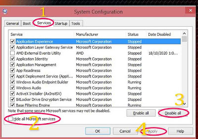 System configuration windows
