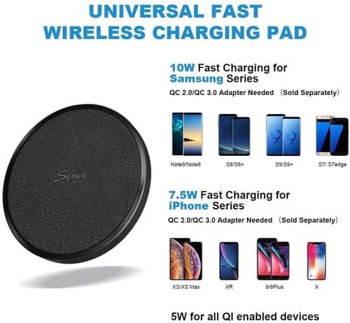 Seneo Fast Qi Leather Wireless Charging Pad