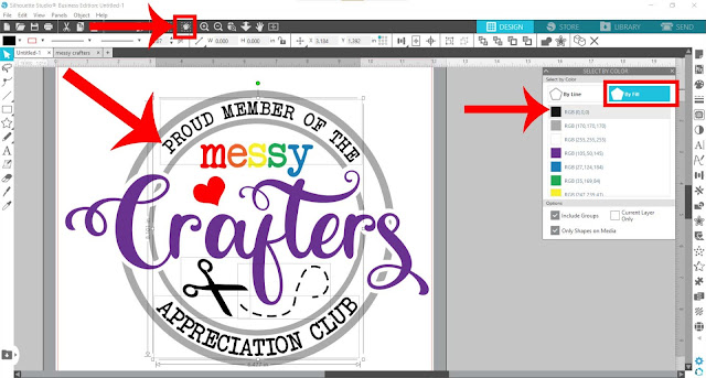 silhouette studio, fill color tool, heat transfer vinyl, select by color tool, HTV
