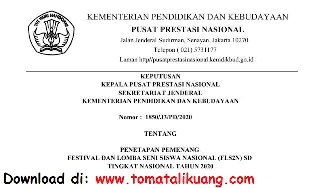 sk pemenang fls2n sd tingkat nasional tahun 2020 secara daring pdf tomatalikuang.com