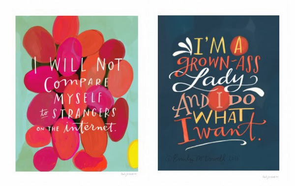 Happiness is... inspirational prints by Emily Mcdowell