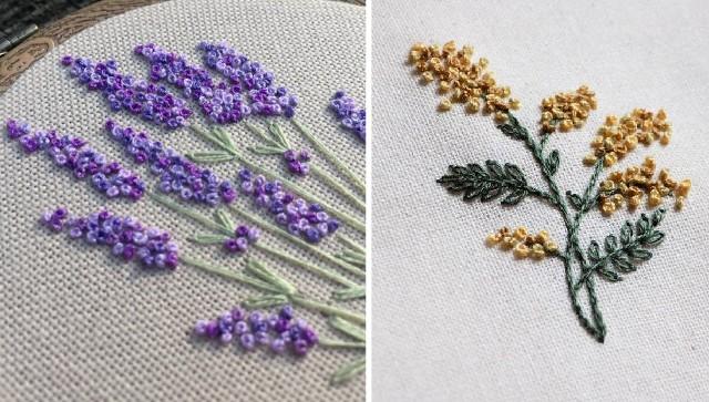 Thêu hoa bằng mũi thêu sa hạt - Hình 1