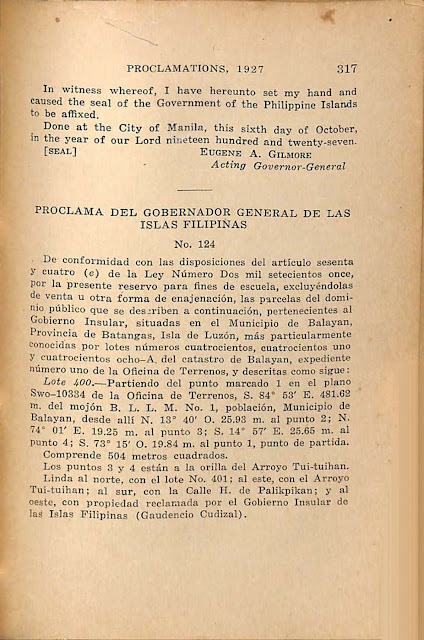 Proclamation No. 124 s. of 1927, Spanish version.