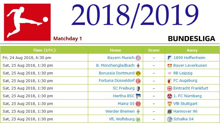 Unduh Jadwal Lengkap PNG JPG Bundesliga Jerman 2018-2019