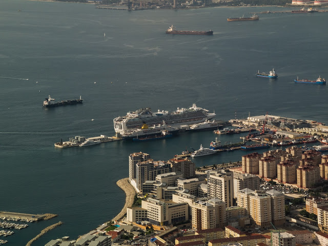 View of the cruise terminal in the port of Gibraltar from the Top of the Rock.