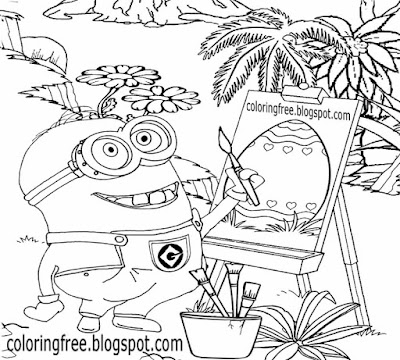 Happy Easter clipart simple printable minion coloring pages egg drawing for young people to color