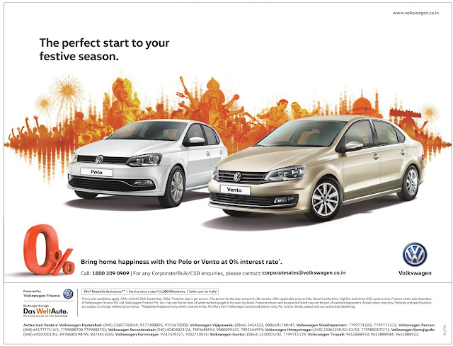 volkswagen polo and Vento at zero (0) % interest rate | September 2016 festival discount offer