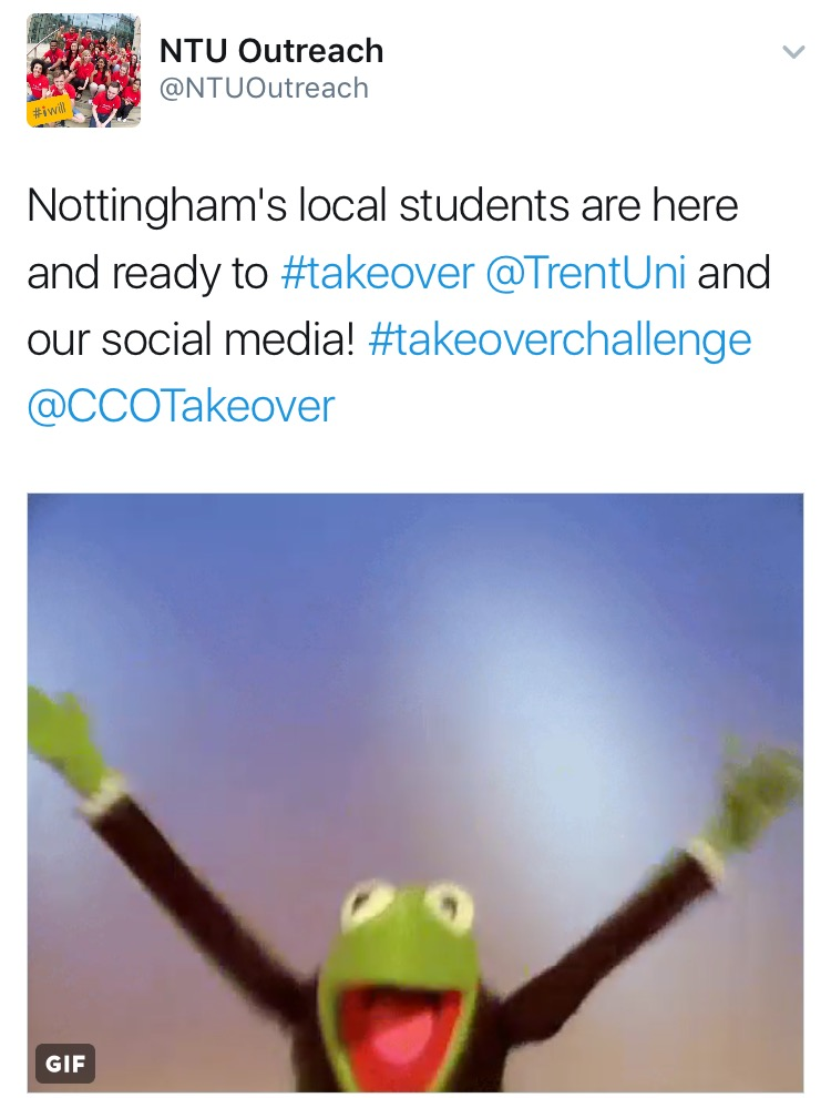 Tweet welcoming the students to NTU.