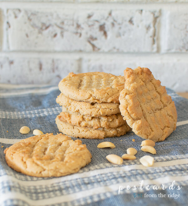 a stack of peanut butter cookies