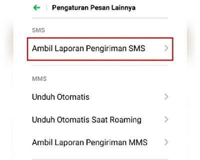 Menu Ambil Laporan Pengiriman SMS