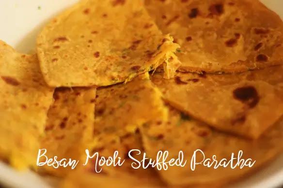 Radish Besan Stuffed Masala Paratha – Besan Mooli Stuffed Paratha