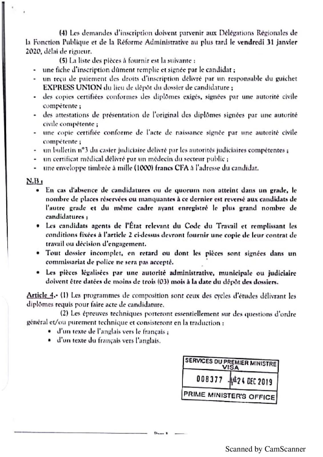 Arrêté du Concours pour le recrutement spécial de 100 Traducteurs et Interprètes 2020 papge 3