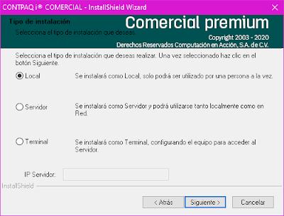 Compu++ - Instalacion de Compu++ - Instalar Contpaqi© Comercial, tipos de instalación