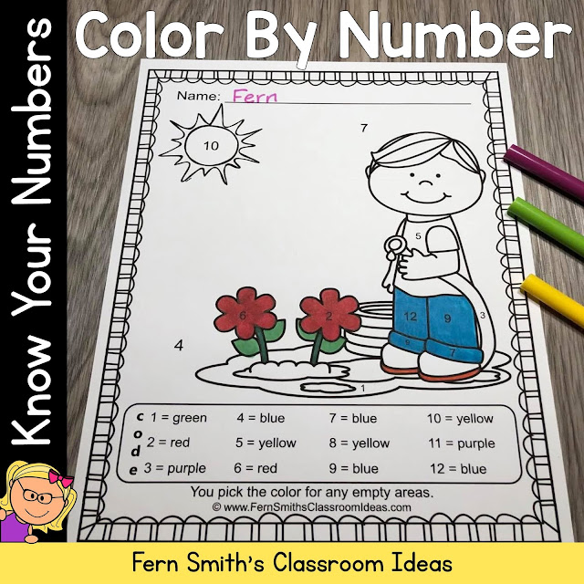 Click Here to Download Sunny Spring Color By Number Know Your Numbers #FernSmithsClassroomIdeas