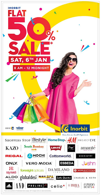 FLAT 50% OFF SALE AT INORBIT MALL MALAD AND VASHI!