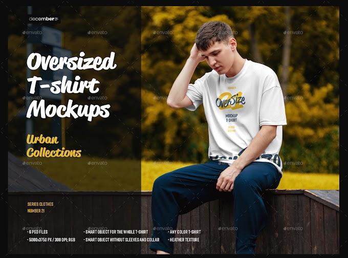 Graphicriver 6 Oversized T-shirt Mockup Urban Style 28713242