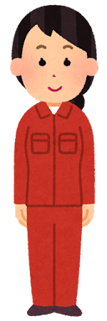 赤の作業着を着た人のイラスト(女性)