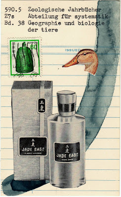 a great and rare art Nietzsche library card duck head postage stamp Jade east bottle Dada Fluxus mail art collage