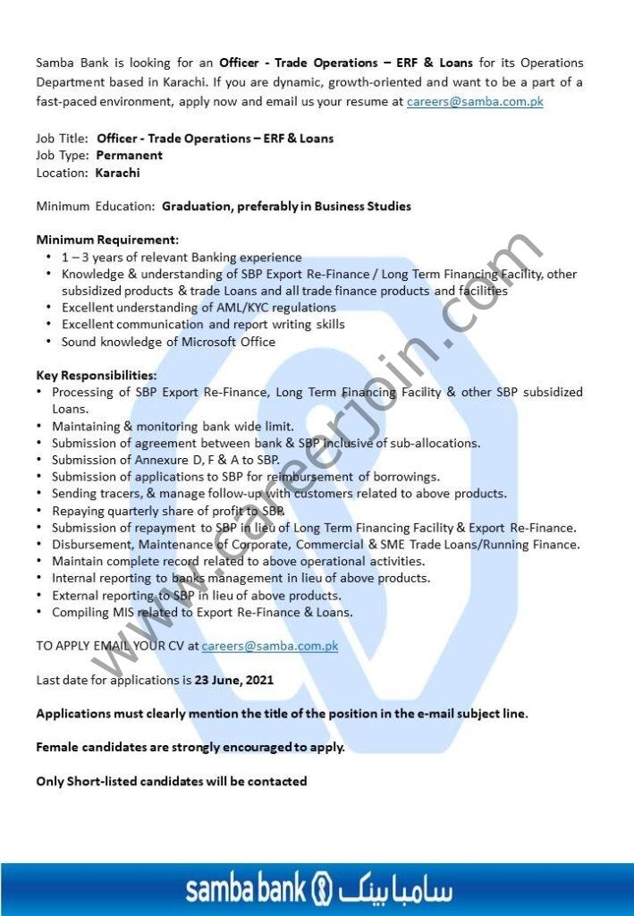 careers@samba.com.pk - Samba Bank Ltd Jobs 2021 in Pakistan