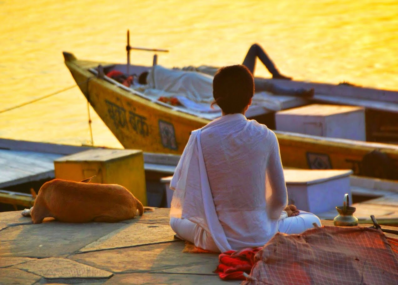 Varanasi Things to do morning meditate boy male man young ghats