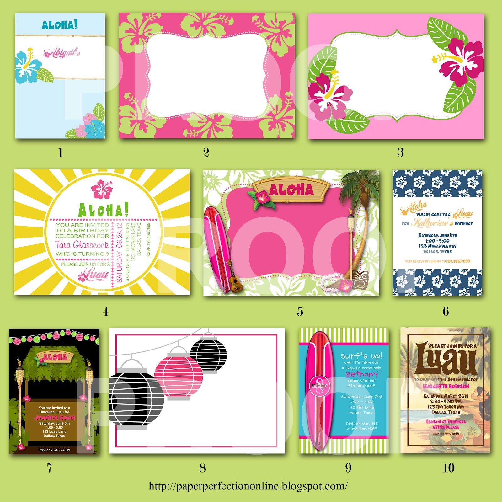 Paper Perfection: Luau Invitations